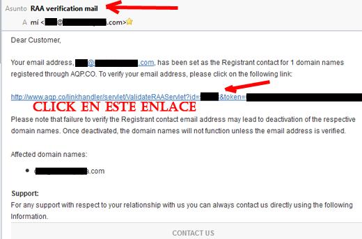 mail de verificacion