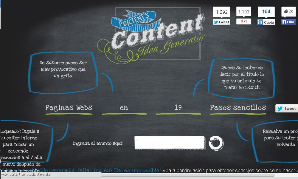 Creación y generación de contenido content idea generator