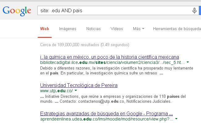 busqueda de paginas dominios .edu