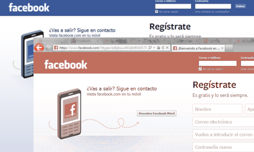 facebook de color rojo
