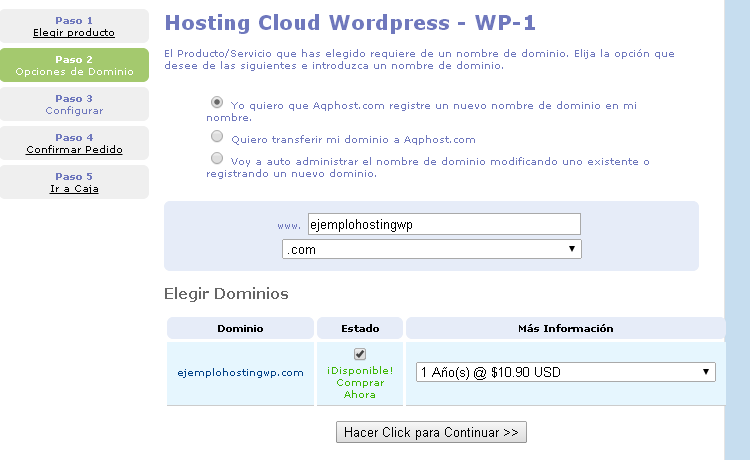 paso 2 hosting wordpress