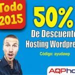 Tu proyecto online con hosting WordPress a mitad de precio por todo el 2015