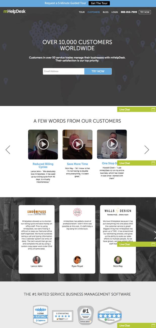 pagina testimonial ejemplo
