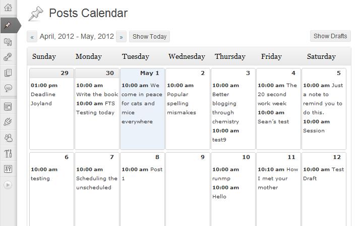 calendario editorial del plugin